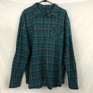 Oakley Men's 2XL Flannel Blue Green Plaid Shirt 2X